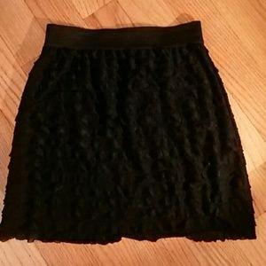 Chiffon A-line Elastic Waist Ruffled Skirt